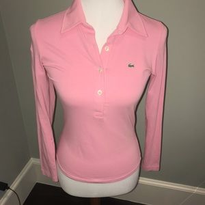 pink Lacoste shirt